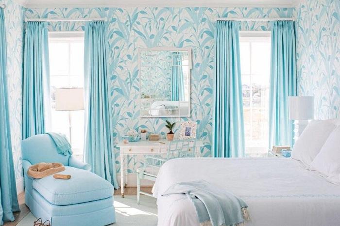 tư vấn chọn rèm màu xanh cho phòng
