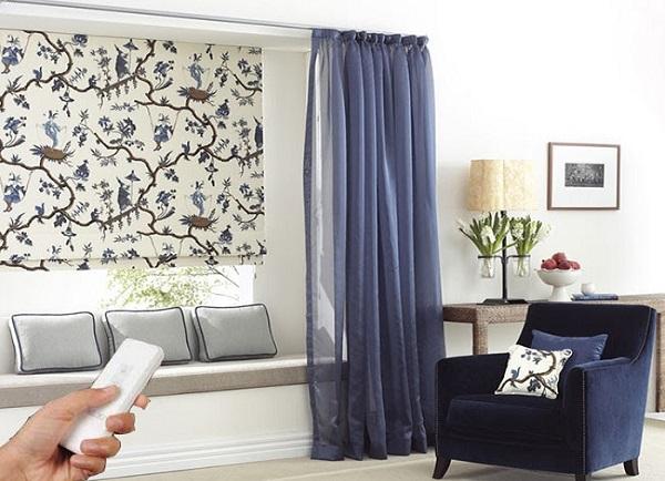 rèm roman phòng ngủ tự động